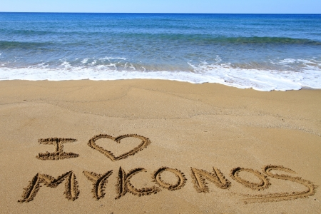 I Love Mykonos written on sandy beach Stock Photo - 18931612