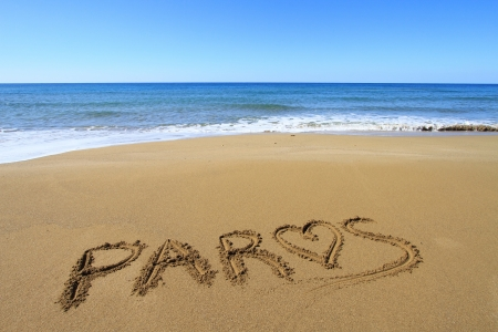 Paros written on sandy beach Stock Photo - 18931600