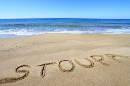 Stoupa written on sandy beach Stock Photo - 18931607