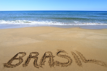 Brasil written on sandy beach Stock Photo - 18931605