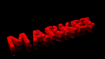 disastrous: Crashed market, word broken into red pieces on black background Stock Photo