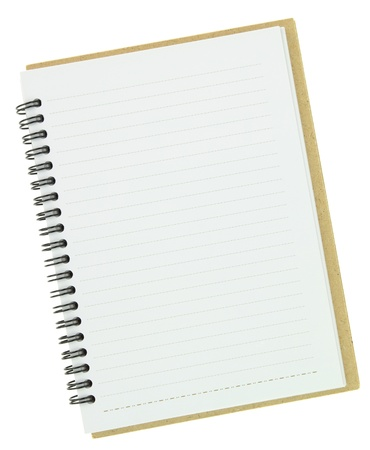 block note: Blank notebook isolated on white Stock Photo