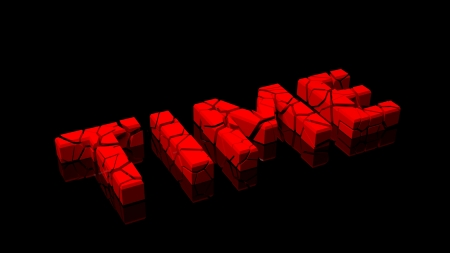 disastrous: Crashed time, word broken into red pieces on black background Stock Photo