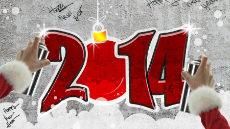 New year 2014 graffiti on concrete wall photo