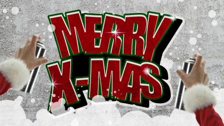 Merry Christmas graffiti on concrete wall photo
