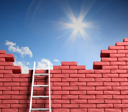 boundaries: Freedom concept. Ladder leading to a better place Stock Photo