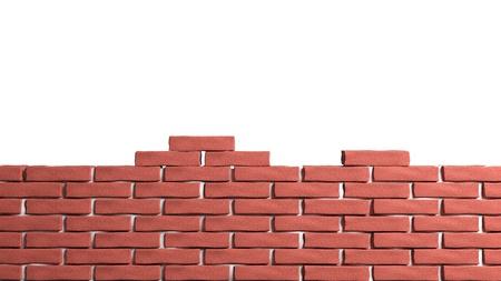 climbing wall:  Half brick wall isolated on white