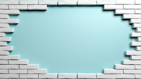 Brick wall frame with hole photo