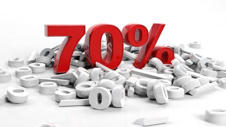 seventy: Rendering 3D di un simbolo di settanta per cento