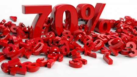 seventy: 3D Rendering of a seventy percent symbol Stock Photo