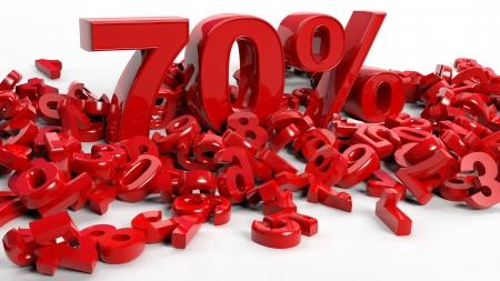70: 3D Rendering of a seventy percent symbol Stock Photo
