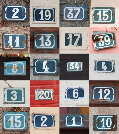 numbers: Collage of weathered house numbers on the wall  Stock Photo