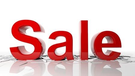 breaks: 3d letters forming word sale breaks the floor