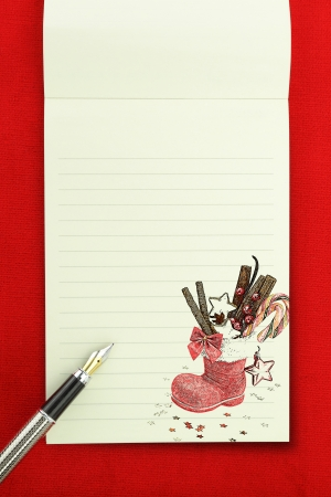 christmas menu: Christmas notebook on red background