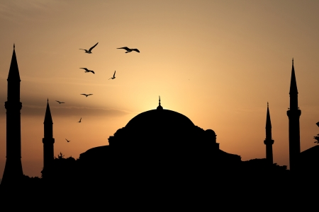 Blue mosque silhouette against sunset. Istanbul, Turkey photo