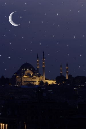 sofia: Hagia Sophia Mosque in Istanbul against night sky with stars and moon
