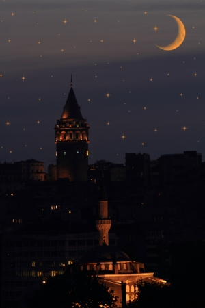 islam moon: Galata tower in Istanbul against night sky with stars and moon