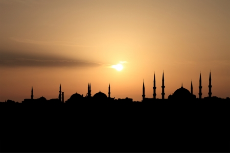 City of Istanbul silhouette against sunset  photo