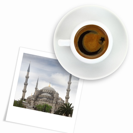 Turkish flag drawing on a cup of coffee and a photo of blue mosque photo