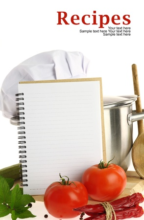 recipe card: Blank recipe book and vegetables