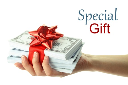 give money: Woman Stock Photo