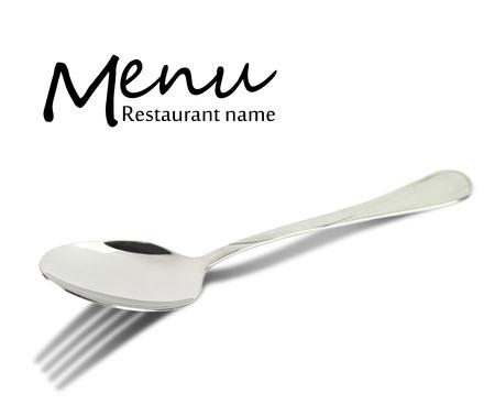 Restaurant menu design Lepel met vork schaduw geïsoleerd op wit Stockfoto