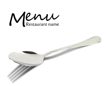 Restaurant menu design  Spoon with fork shadow isolated on white photo