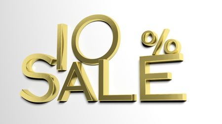 selling off: 3d letters forming ten percent symbol and the word sale