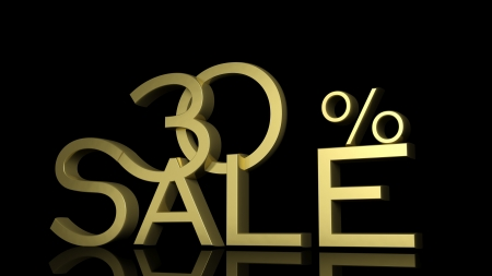 thirty: 3d letters forming thirty percent symbol and the word sale  Stock Photo