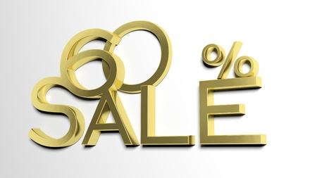 sixty: 3d letters forming sixty percent symbol and the word sale  Stock Photo