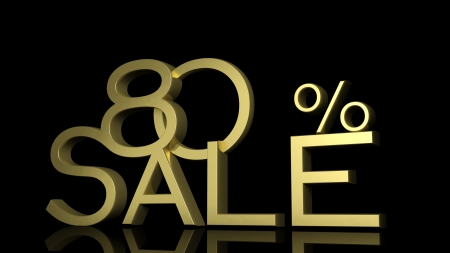 eighty: 3d letters forming eighty percent symbol and the word sale  Stock Photo