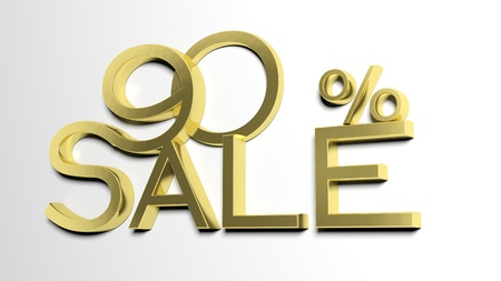 ninety: 3d letters forming ninety percent symbol and the word sale