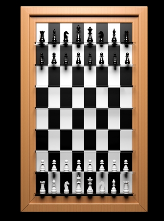chess player: Straight up chess game in wooden frame