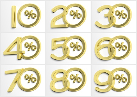 50 to 60: Group of numbers with percent symbol