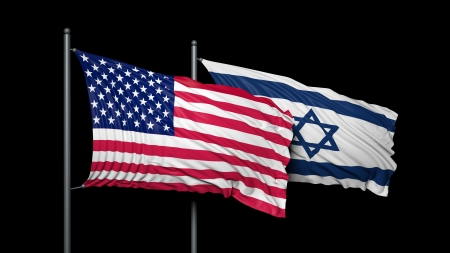 flag of israel: Relationship between USA and Israel Stock Photo