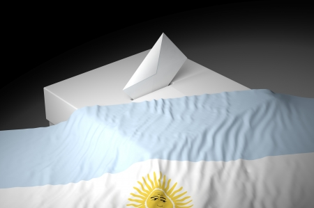 Ballot box with the flag of Argentina photo