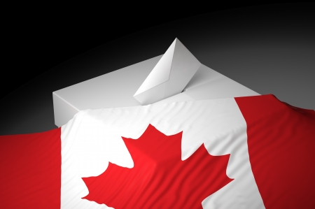 federal: Ballot box with the flag of Canada