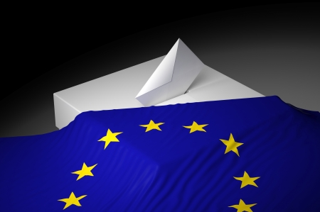 Ballot box with the flag of Europe photo