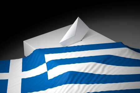 electing: Ballot box with the flag of Greece Stock Photo