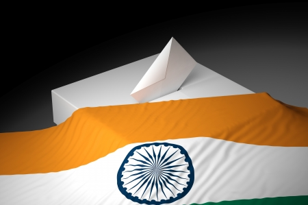 electing: Ballot box with the flag of India