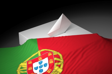Ballot box with the flag of Portugal photo
