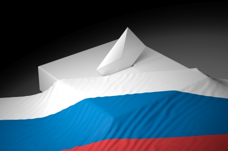 electing: Ballot box with the flag of Russia