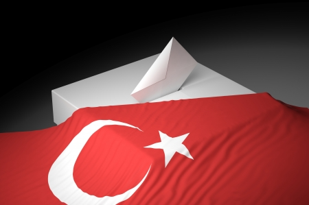 Ballot box with the flag of Turkey Stock Photo - 20582499