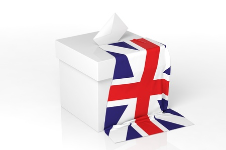 electing: Ballot box with the flag of Great Kingdom