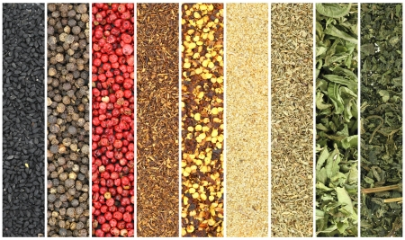dried herbs: Banners of herbs and spices
