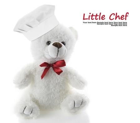 Classic teddy bear with chef hat photo