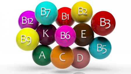 pharmacology: Collection of vitamins isolated on white  Stock Photo