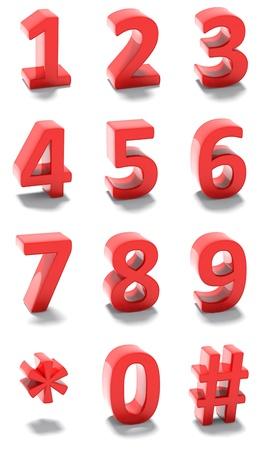 teclado numerico: Conjunto de números rojos 3d