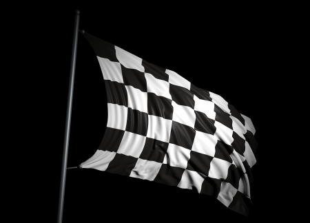 winning race: Finishing checkered flag on black background Stock Photo