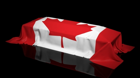 symbol victim: Coffin covered with the flag of Canada